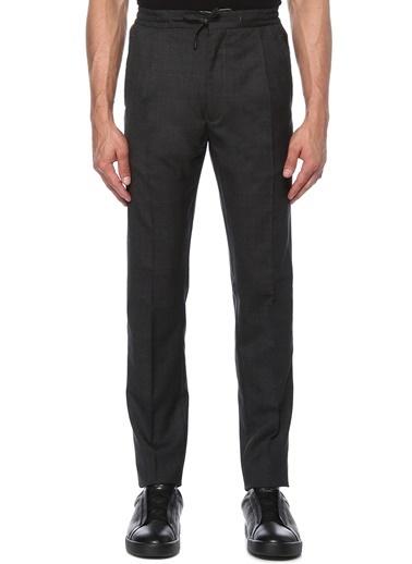 Lardini Lardini  Beli Kordonlu Yün Pantolon 101495397 Gri